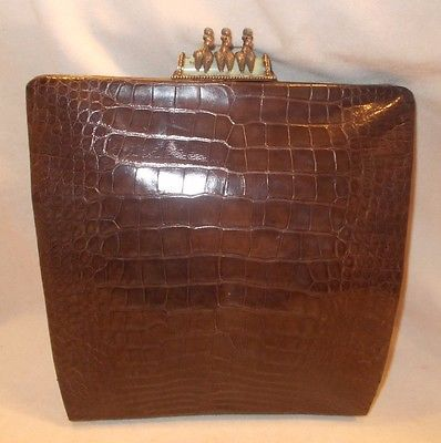 Rare large vintage 1950's French alligator skin clutch bag with poodle clasp  | eBay