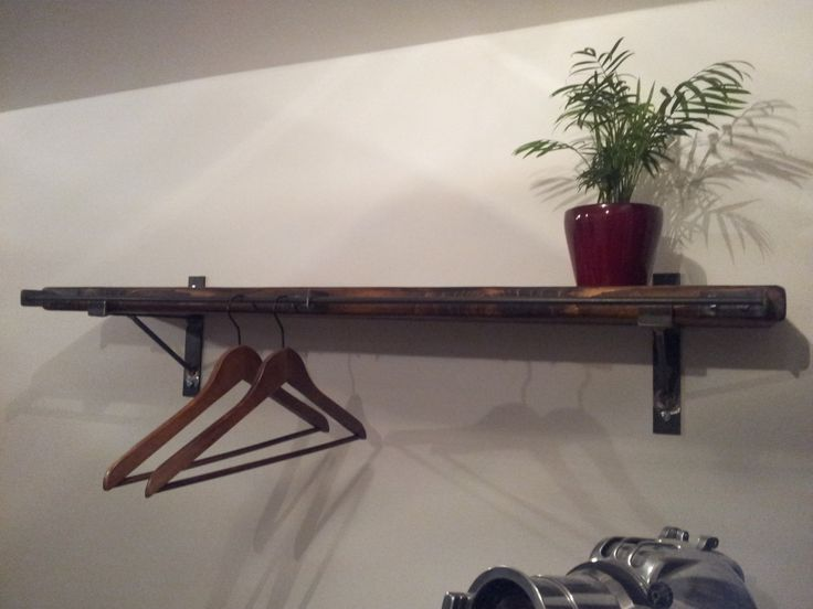 Industrial look heavy duty clothes rail. shelf wall brackets