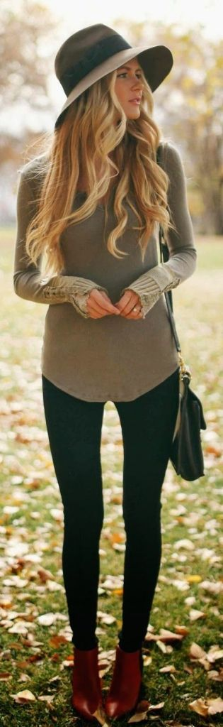 #fall #fashion casual / green knit
