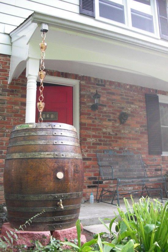 Beverage barrel turned into rain barrel