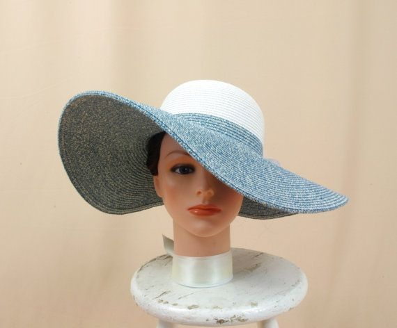 Blue and White Hat Blue Floppy Hat Wide by englishrosedesignsoh