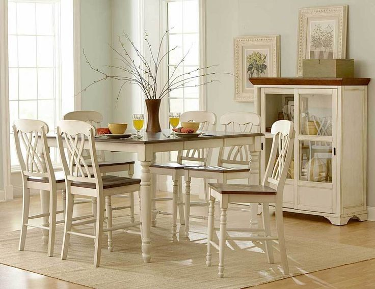 CASUAL COUNTRY COUNTER HEIGHT WHITE DINING TABLE DINING ROOM FURNITURE SET  #Unbranded #Country