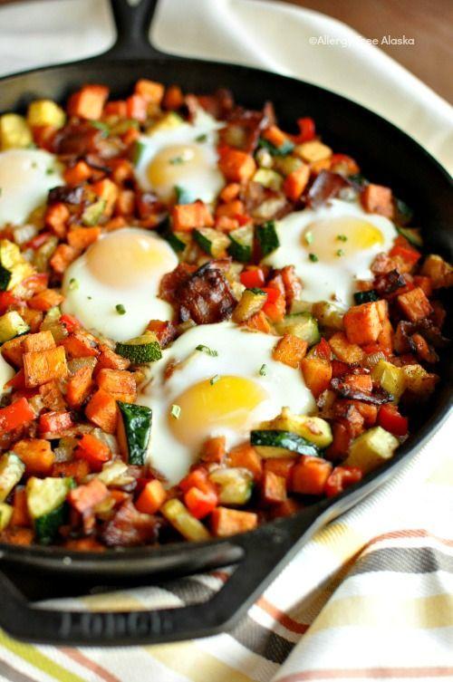 Paleo & gluten-free! Sweet Potato Breakfast Skillet with Bacon Recipe -AllergyFreeAlaska