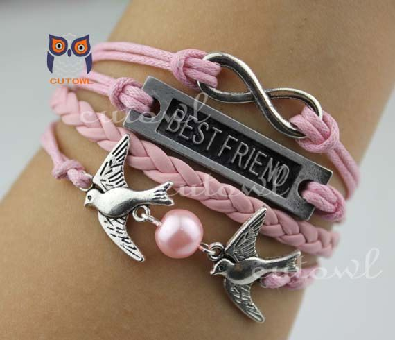 Best Friend Charm Bracelet: Infinity Best Friend Jewelry Bird Charm Bracelet Pink By