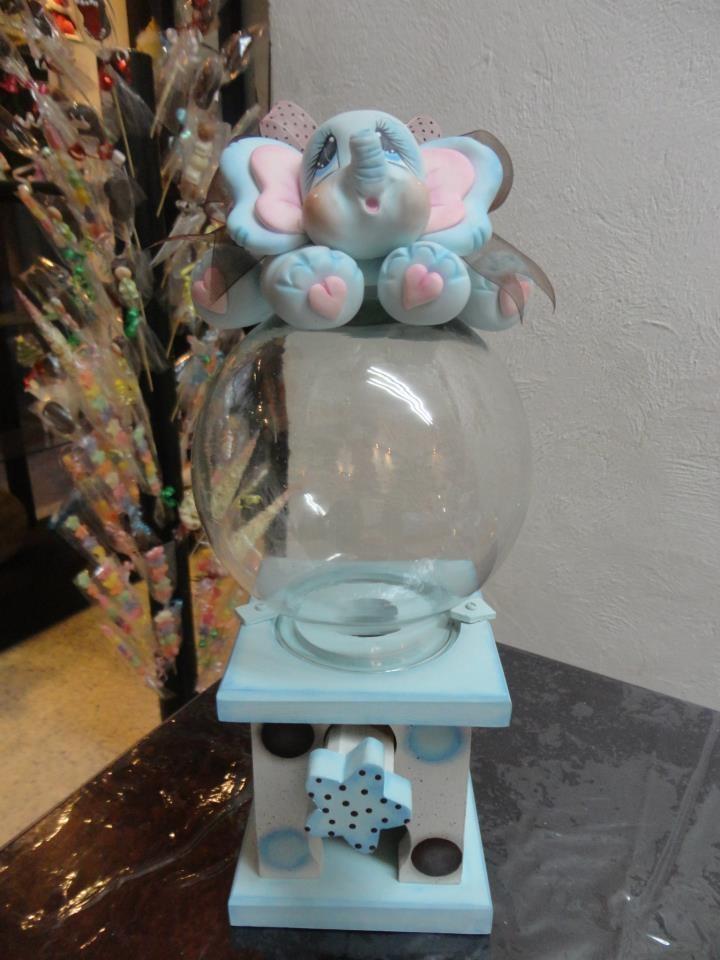 Expulsador de dulces base de mdf bola de vidrio decorada en porcelana fria chicleras y o - Centros de mesa para primera comunion originales ...