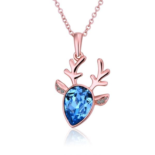 Hakbaho Jewelry Rose Gold Plated Blue Moose Antlers CZ Necklace