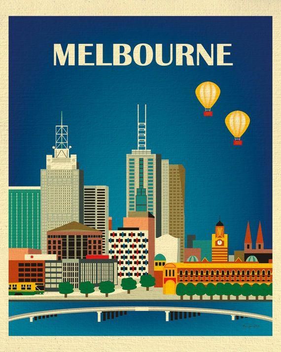 Melbourne, Australia Vertical Skyline - 8 x 10 City Wall Art Print for Home, Office, and Nursery - style E8-O-MEL
