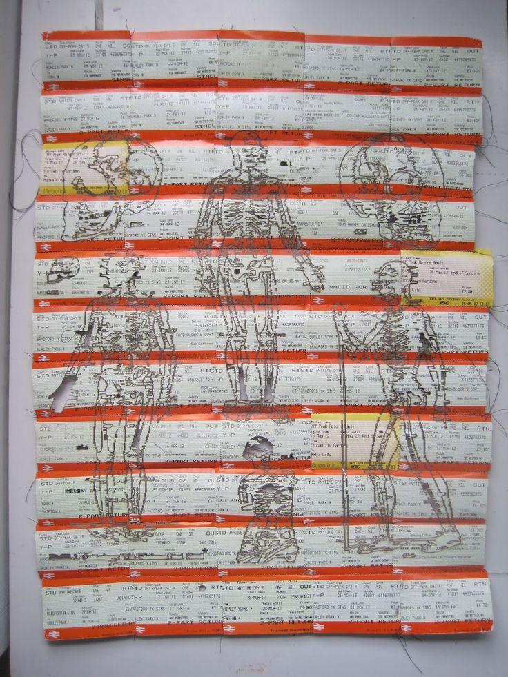 Kayleigh Wallace: skeleton laser cut / machine stitched train ticket collage