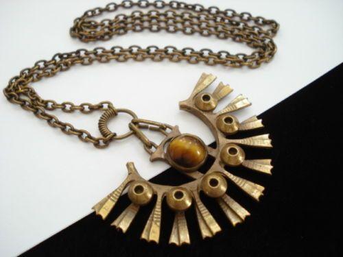 Vintage Finland Modernist Kalevala Koru Bronze or Brass Tiger's Eye Necklace | eBay