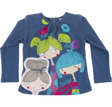 Camiseta manga larga baby doll baby doll, para nina - tuc tuc