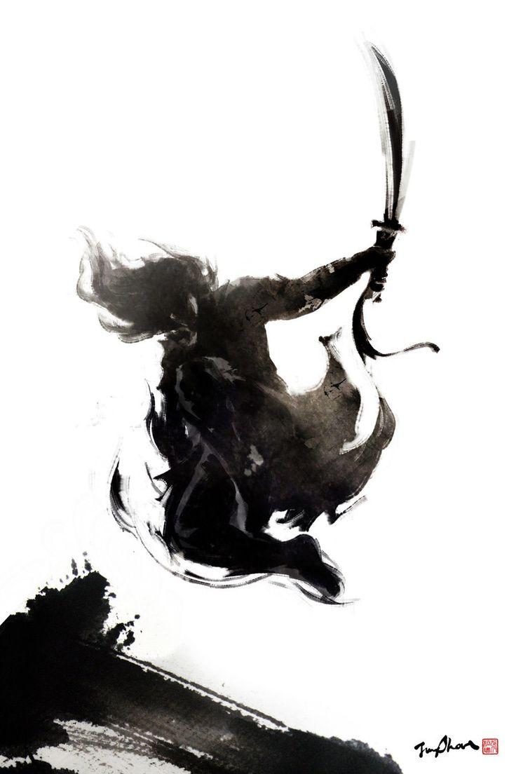 Illustration d'un guerrier samurai en plein vole à l'encre de chine.