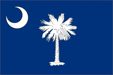 Asked by the Revolutionary Council of Safety in the fall of 1775 to design a flag for the use of South Carolina troops, Col. William Moultrie chose a blue which matched the color of their uniforms and a crescent which reproduced the silver emblem worn on the front of their caps. The palmetto tree was added later to represent Moultrie's heroic defense of the palmetto-log fort on Sullivan's Island against the attack of the British fleet on June 28, 1776.
