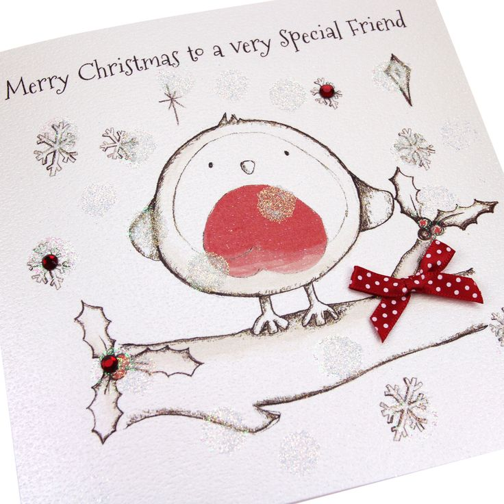 Handmade Christmas Card Polka Dot Bow Luxury Glittered Embossed Cute Robin - 'Merry Christmas to a very Special Friend'