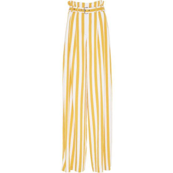 Maison Margiela Striped Paper Bag Waist Pant ($1,085) ❤ liked on Polyvore featuring pants, multi, striped wide-leg pants, wide leg pants, striped trousers, paper pants and maison margiela