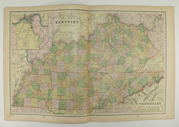 Antique Kentucky Map Vintage Map of Tennessee 1898 State Map North ...