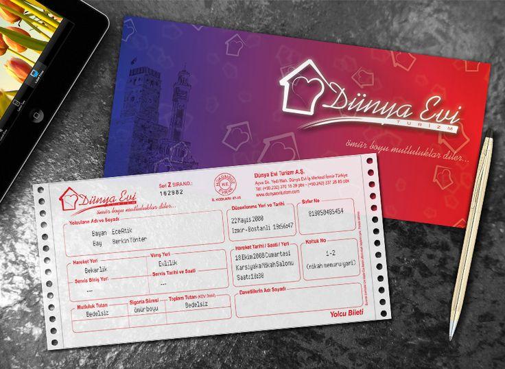 Yıllarca otobüs yolculuklarıyla ayakta tutulmuş bir aşkın düğün davetiyesi olarak 'otobüs bileti formatı' seçilmişti. İki farklı şehirin saat kulelerinin yanyana gelmesi, kadın ve erkeği temsil eden kırmızı ve mavi renklerin karışımı ile hazırlan bilet zarfının içine perforajlı 2 nüsha bilet formatında düğün bilgileri girilmişti.