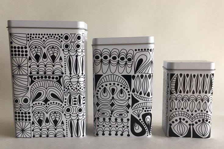 Ikea tripp metal tins set of 3 rectangle black white doodle canister with lid  | eBay
