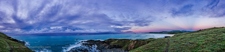 https://flic.kr/p/GteRfb | Cloudy Ocean Sunrise with Crepuscular Rays | A sunrise at the Woolgoolga Headlands, NSW, Australia on a cloudy morning over the ocean, but clear sky to the west inland displaying anti-crepuscular rays converging to the anti-solar point. I shot this panorama April 22, 2016.  This is a panorama of 16 sections, each with the 35mm lens in portrait orientation, and Canon 6D. Each segment or panel is a 5-exposure high-dynamic range stack, making for 80 exposures in all…