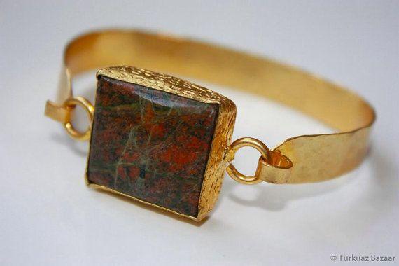 Huma Tourmaline Bracelet set in 22k Gold Plated by TurkuazBazaar, $70.00