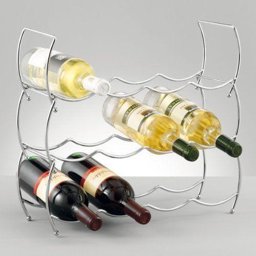 Wine Rack Bottle Holder Metal 3 Tier Flexible Stackable Small Kitchen Bar Chrome