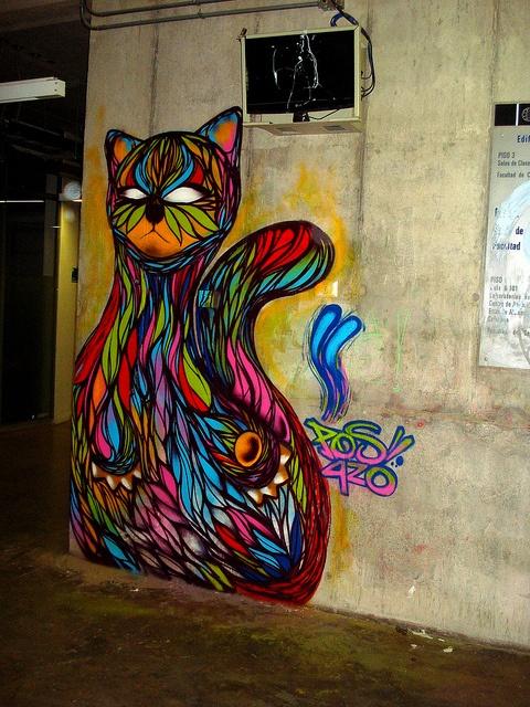 street cat: Cat Art, Street Artists, Kitty Cat, Cool Cat, Street Art Utopia, Graffiti, Inspiration Art, Colors Cat, Streetart