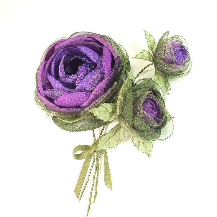 Купить Розы Фиолетовой Долины. Брошь с цветами из ткани. Букет - цветы, листья, брошь