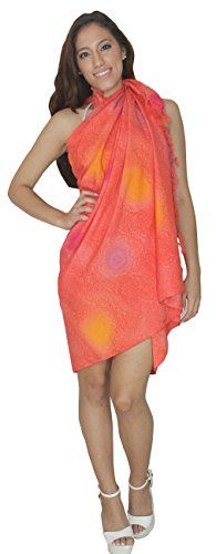 """Womens Sarong Pareo Bathing Bikini Coverup Skirt Wrap Dress Beach Spring Coral. Do YOU want SARONG in other colors Like Red ; Pink ; Orange ; Violet ; Purple ; Yellow ; Green ; Turquoise ; Blue ; Teal ; Black ; Grey ; White ; Maroon ; Brown ; Mustard ; Navy ,Please click on BRAND NAME LA LEELA above TITLE OR Search for �LA LEELA� in Search Bar of Amazon. Wrap Around ; LENGTH ; 72"""" [183 cms] ; WIDTH ; 42"""" [106 cms]. SOFT Sarong with PLENTY OF Wrap Around MATERIAL (Provides you good coverage…"""