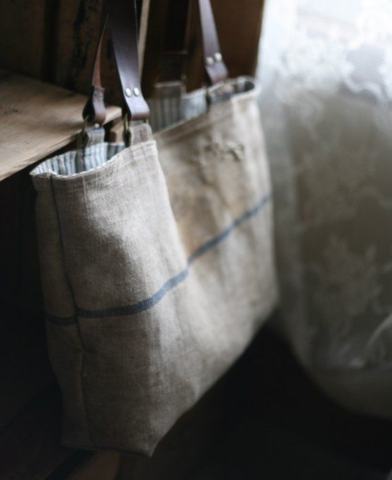 recycled antique linen tote bag por Forestbound en Etsy