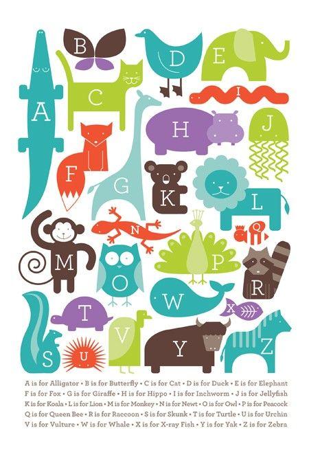 Alphabet Animal Print via Ampersand