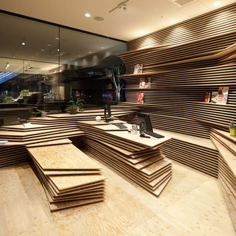 A beautiful space made of very simple material. Gurunavi cafe and office by Kengo Kuma