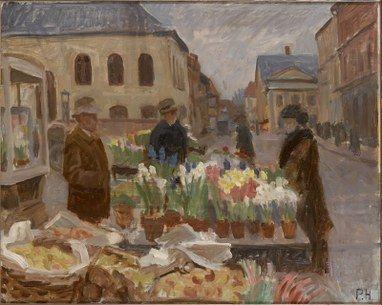 Peter Hansen - Blomstertorv i Faaborg. Sorø Kunstmuseum, Denmark