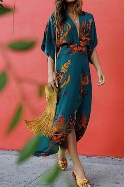 Boho Printed Colour Split V Neck Casual Maxi Dress – streetwearlooks