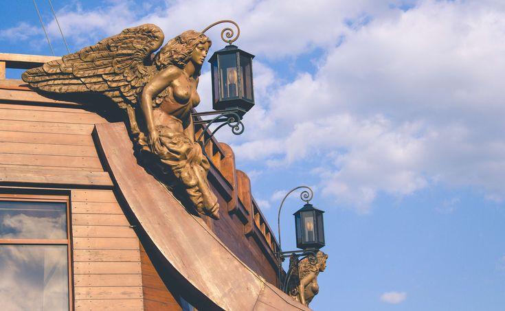 #angel #boat #clouds #lantern #saint petersburg #sculpture #ship #statue #tourist attraction #vesse #wings #woman