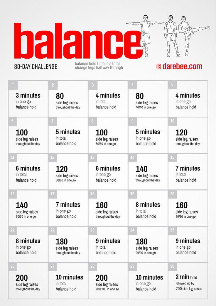 30 Day Balance Challenge darebee balance fitness