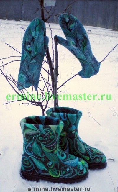 """Валенки""""Новогодние"""" - Валяние,валенки,валеночки,шерсть,шерсть меринос"""