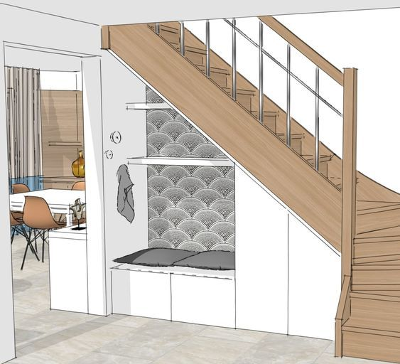 HI. perspective rangement & banquette sous escalier – Karen Meyer