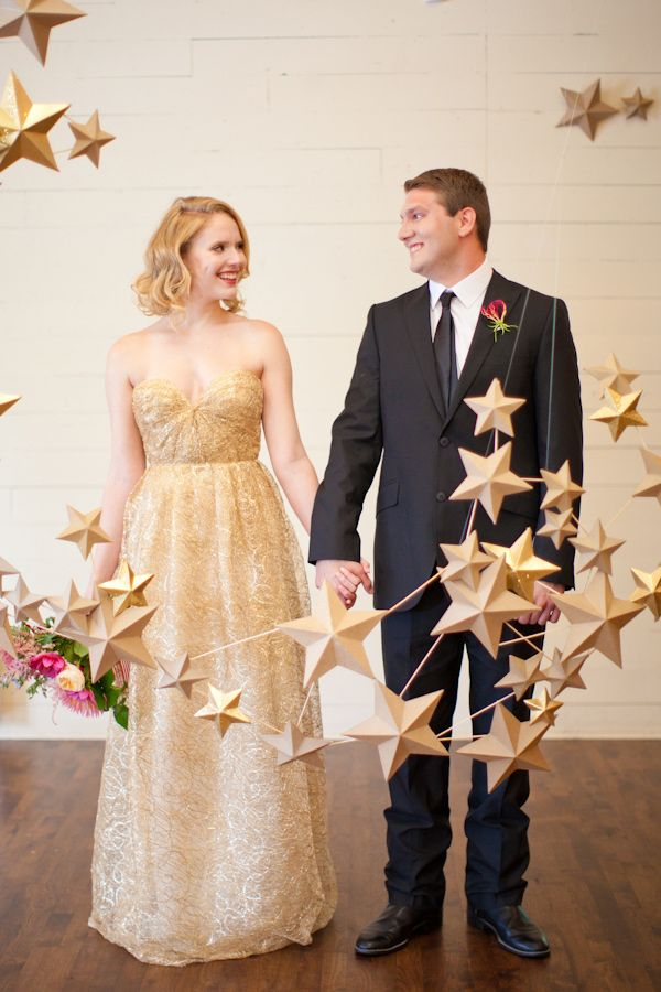gold star garland // photo by Love, The Nelsons; styling by Sweet Sunday Events // http://ruffledblog.com/starry-holiday-wedding-ideas