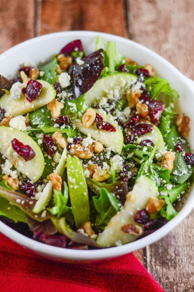 Easy Dinner Ideas for Two - Apple Walnut Cranberry Salad - Quick, Fast and Simple Recipes to Make for Two People - Freeze and Make Ahead Dinner Recipe Tips for Best Weeknight Dinners - Chicken, Fish, Vegetable, No Bake and Vegetarian Options - Crockpot, Microwave, Healthy, Lowfat Options http://diyjoy.com/easy-dinners-for-two #bestfishrecipes #fishrecipesfordinner