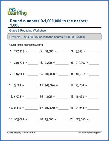 Grade 5 Place value Worksheet round 6-digit numbers to the nearest ...