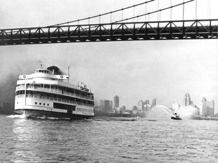 The Ste. Claire Boblo boat passes under the Ambassador Bridge on June 19, 1967. (The Detroit News)