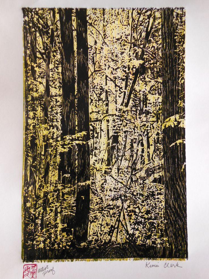 Maple Tree Forest Woodblock Print Japanese Moku Hanga