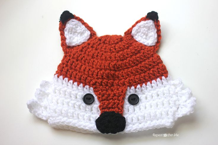 Crochet Fox Hat - Repeat Crafter Me - free full pattern with size options