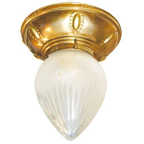 Kleine Tropfenglas-Deckenleuchte auf Messingsockel RAAB von Art Nouveau Lamps - Foto