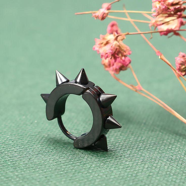 Rivets Hedgehog Punk Rock Titanium Steel Unisex Earring for Men Women at Banggood