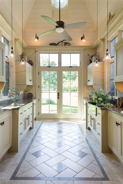 Cottage Style Galley Kitchen With High Ceilings And Tile Kitchen And Dining Pinterest