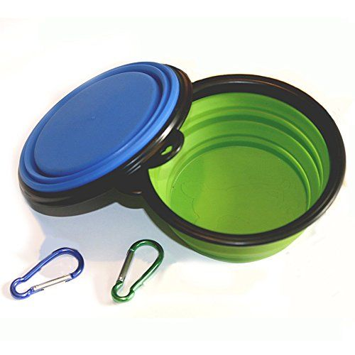 Comsun 2-pack Collapsible Dog Bowl Food Grade Silicone BPA Free Foldable Expandable Cup Dish for Pet Cat Food Water Feeding Portable Travel Bowl Blue and Green Free Carabiner
