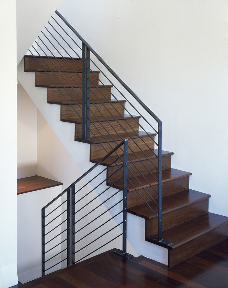 Stair railing ideas staircase modern with banister dark for Modern wood stairs