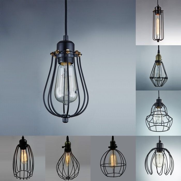 Industrial 18 pinterest vintage industrial metal cage pendant light hanging lamp chandelier fixture new mozeypictures Image collections