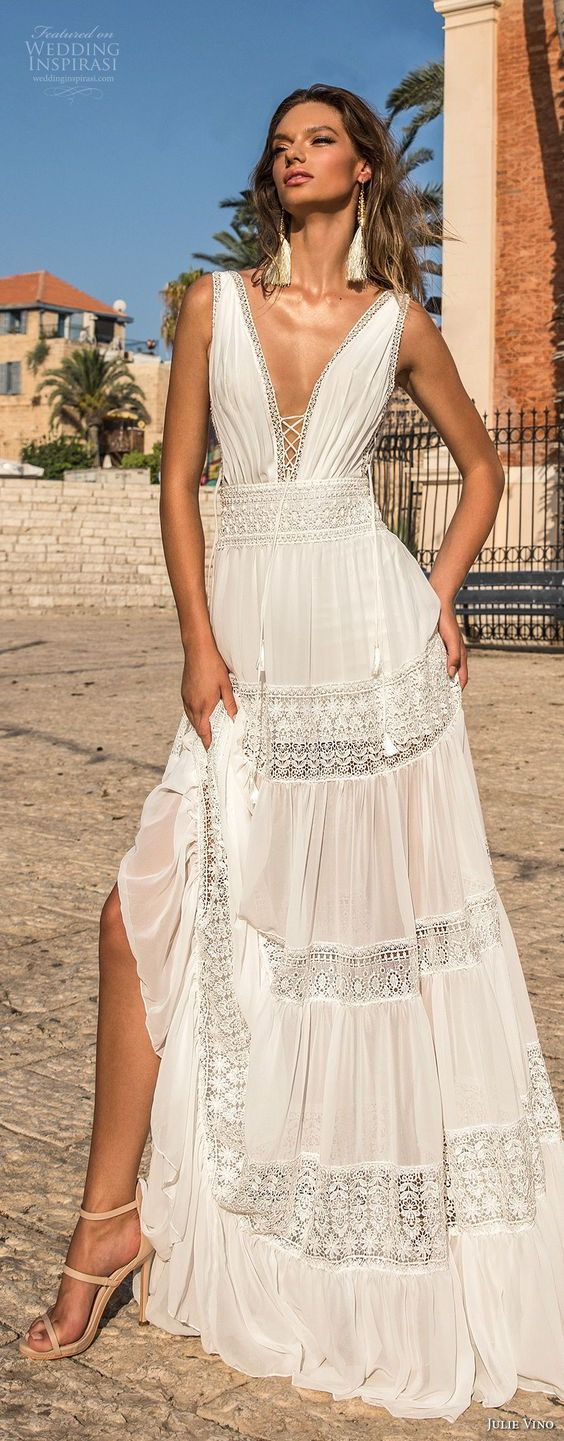 julie vino 2018 bridal sleeveless deep plunging v neck light lace embellishment sexy bohemian soft a line wedding dress open v back sweep train (58) lv -- Romanzo by Julie Vino 2018 Wedding Dresses