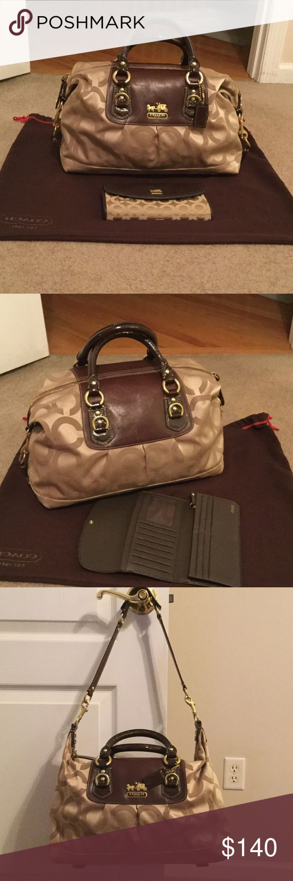 Coach Large Sabrina- Satchel and similar wallet. A great bag, use a few times, but in perfect condition. Comes with storage bag and is convertible. Coach Bags Satchels